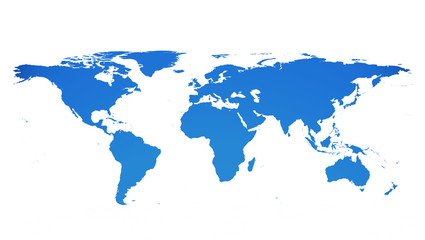Detailed flat map of the earth in blue