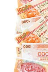 Hong Kong Dollar--One thousand Dollar Bill-- on white background