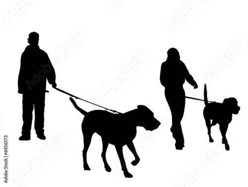 quotyoung couple walking dogs silhouettequot stock photo and