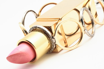 Lipstick and golden chain