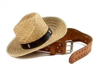 leather belt and straw hat