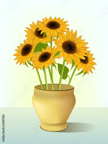Clip Art Of Bright Yellow Sunflowers In Vase Stock Photo And