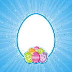 color easter eggs over blue  background