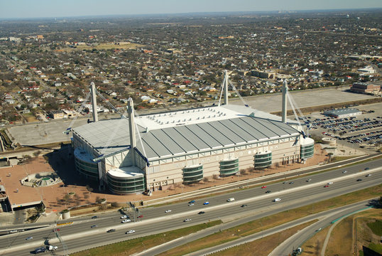 Aerial view of the Alamodome sports arena.