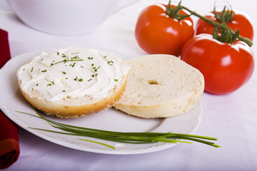 Onion Bagel Chives and Tomatoes