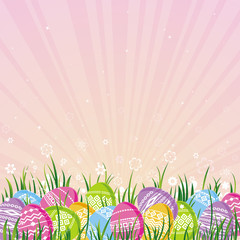 many color easter eggs over pink  background
