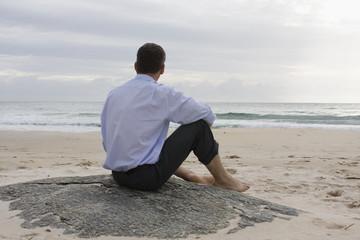 Businessman on a rock on the beach