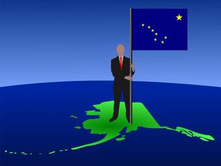 man on Alaska map with flag