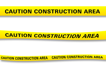 Several versions of a construction ribbon with clipping paths