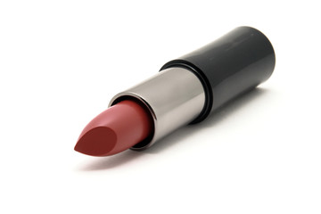 Diagonal red lipstick in a black tube