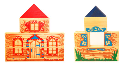two wooden houses