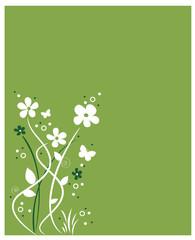Frühlingsblumen auf grünem Hintergrund