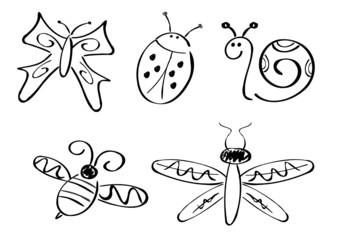 Schmetterling, Libelle, Biene, Käfer und Schnecke