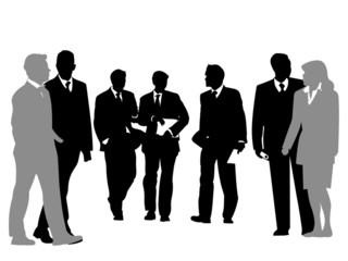 business people discussing  silhouette