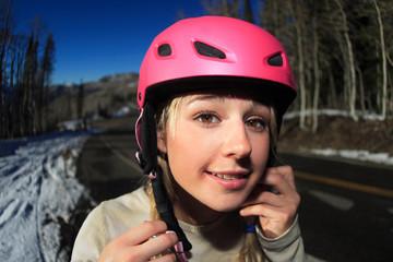 Cute Blond in Ski Helmet
