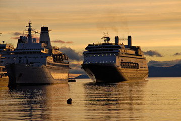 Big passenger ships in Ushuaia,  Argentina, South America.