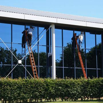 Window washers on ladders