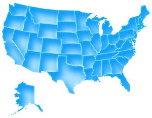 Carte Etats-Unis Deep Blue