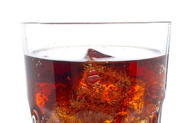 Detail of soda with ice cubes