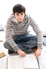 The young student isolated on a white