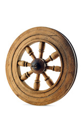 Old wood wheel with clipping path