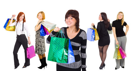 shopping girls with especially happy girl at the front