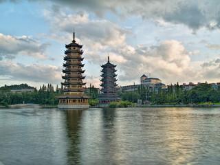 Pagodas in Banyan Lake in downtown Guilin