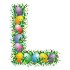 Easter letter L with eggs hidden in the grass