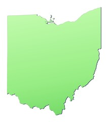 Ohio (USA) map filled with light green gradient