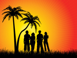 Group of friends under palm trees