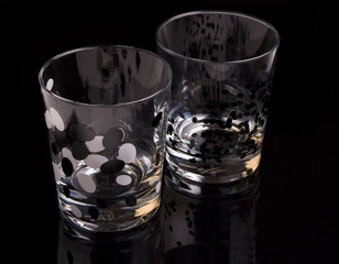 Glasses on a black background