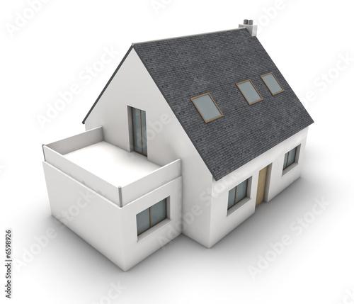 Wohnhaus Mit Balkon Und Garage 3 Stockfotos Und Lizenzfreie Bilder