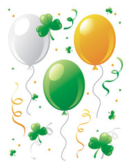 St.Patrick's Day balloons and clovers.
