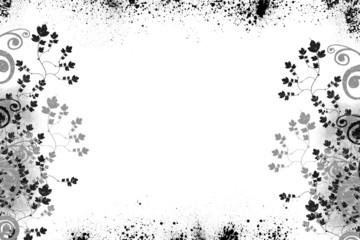 Grunge flowers - B/W
