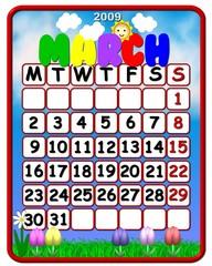 calendar march 2009