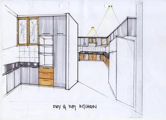 3D Sketch Illustration for a Kitchen