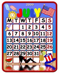 calendar july 2009