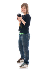 The young beautiful girl with the camera isolated on a white