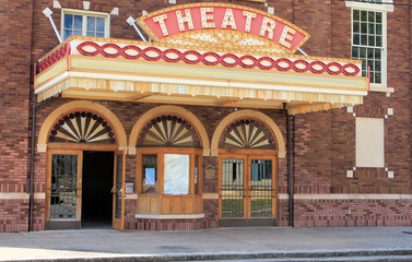 Vintage old time movie theatre marque