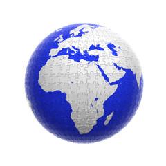 earth globe puzzle isolated