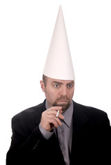 Dunce cap on smoking man