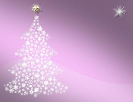Snowflake Christmas tree on sugar plum pink