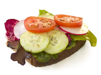 Healthy sandwich with lettuce, cucumber , tomatoes and radishes