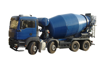 Blue Cement Mixer Truck isolated on white