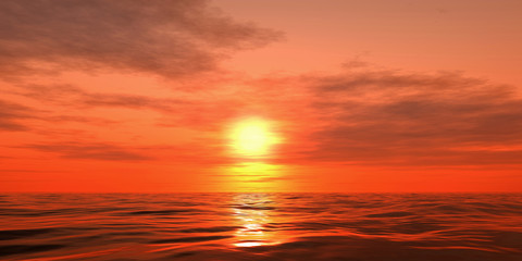 3d sunset over the sea