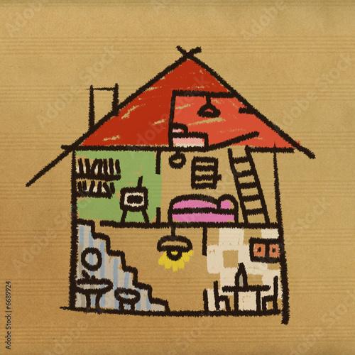 dessin maison interieur photo libre de droits sur la banque d 39 images image 6689924. Black Bedroom Furniture Sets. Home Design Ideas