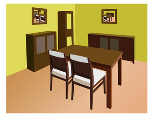 dinning room interior vector