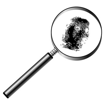Magnifying glass with fingerprint isolated over white background