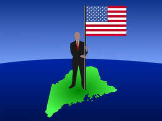 man on map of Maine with flag