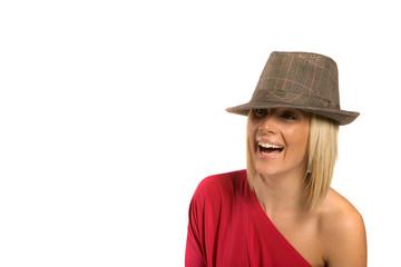 Pretty blond woman in hat